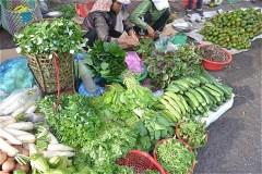 コントゥム市路上マーケットで売っている野菜