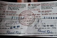 CaMau-Saigon長距離バス・チケット